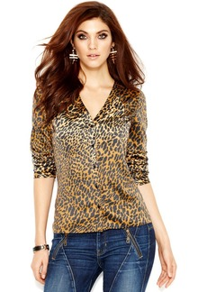 GUESS Long-Sleeve Printed Cutout Blouse