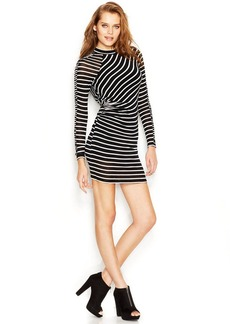 GUESS Long-Sleeve Striped Body-Con Dress