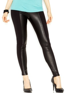 GUESS Mixed-Media Faux-Leather Panel Leggings