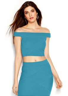 GUESS Off-The-Shoulder Ribbed Cropped Top
