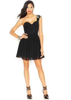 GUESS One-Shoulder Beaded Corset Dress
