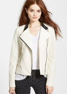 GUESS Perforated Faux Leather Moto Jacket