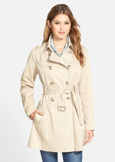 GUESS Piped Fit & Flare Trench Coat