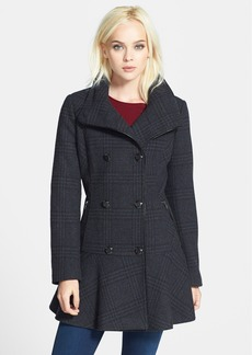 GUESS Plaid Skirted Wool Blend Coat (Online Only)