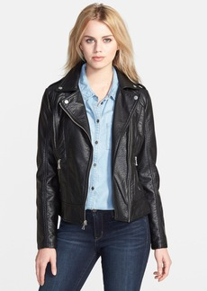 GUESS Shrunken Faux Leather Moto Jacket