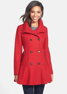GUESS Skirted Wool Blend Coat