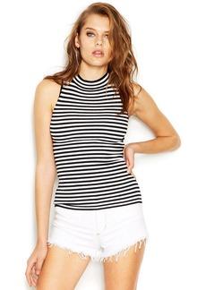 GUESS Sleeveless Mock-Turtleneck Striped Knit Top