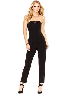 GUESS Strapless Lace-Inset Jumpsuit
