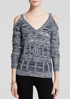 GUESS Sweater - V Neck Crop Cable Knit