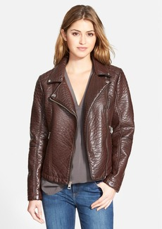 GUESS Textured Faux Leather Moto Jacket