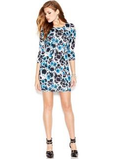 GUESS Three-Quarter-Sleeve Floral-Print Dress