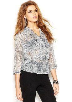 GUESS Three-Quarter-Sleeve Printed Faux-Wrap Top