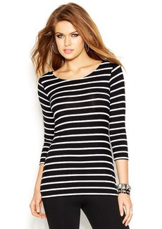 GUESS Three-Quarter-Sleeve Scoop-Back Striped Top
