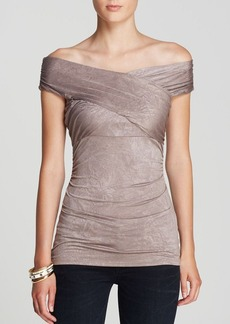 GUESS Top - Creased Slinky Off Shoulder