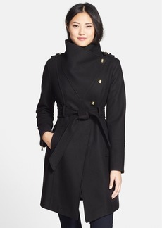 GUESS Wool Blend Asymmetrical Military Coat