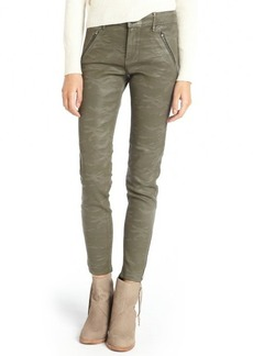 Habitual olivine grey stretch 'Amalia' ankle zip coated skinny jeans