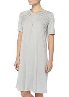 Cashmere-Blend MOMA Lace-Detailed Gown, Gray Melange   Cashmere-Blend MOMA Lace-Detailed Gown, Gray Melange