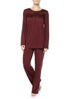 Cashmere-Blend MOMA Lace-Detailed Pajama Set, Maroon   Cashmere-Blend MOMA Lace-Detailed Pajama Set, Maroon