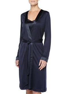 Grand Central Satin-Trimmed Robe, Ink   Grand Central Satin-Trimmed Robe, Ink