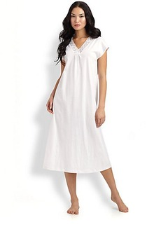 Hanro Cap-Sleeve Long Gown