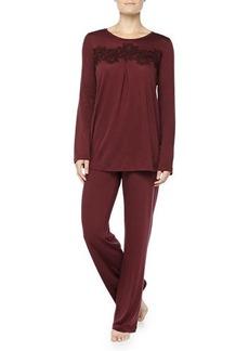 Hanro Cashmere-Blend MOMA Lace-Detailed Pajama Set, Maroon