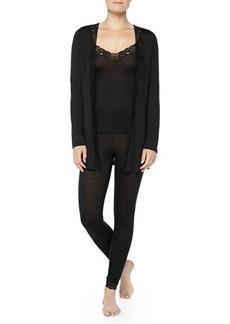 Hanro Downtown Lace-Trimmed Silk-Blend Leggings, Phantom Gray