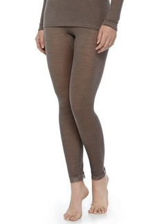 Hanro Lace-Trimmed Wool-Silk Leggings, Dusty Olive