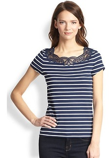 Hanro Laia Lace-Trimmed Striped Stretch Cotton Tee
