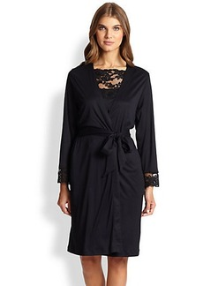 Hanro Met Lace-Trimmed Jersey Robe