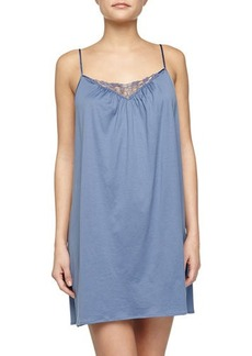 Hanro Roma Lace-Trimmed Chemise, Blue Shadow