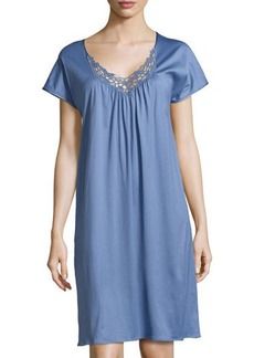 Hanro Roma Short-Sleeve Gown, Blue Shadow