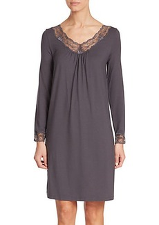 Hanro Valencia Long-Sleeve Lace-Trimmed Jersey Nightgown