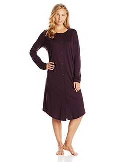 Hanro Women's Bronx Long Sleeve Button Front Gown