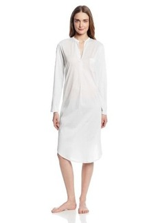 Hanro Women's Cotton Deluxe Long Sleeve Button Front Gown