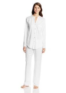 Hanro Women's Cotton Deluxe Long Sleeve Button Front Pajama