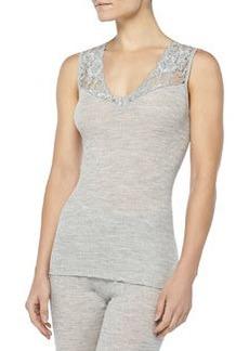 Met Lace-Inset Wool-Silk Tank Top, Light Melange   Met Lace-Inset Wool-Silk Tank Top, Light Melange