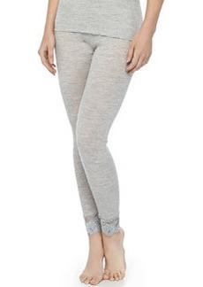 Met Lace-Trimmed Wool-Silk Leggings, Light Melange   Met Lace-Trimmed Wool-Silk Leggings, Light Melange