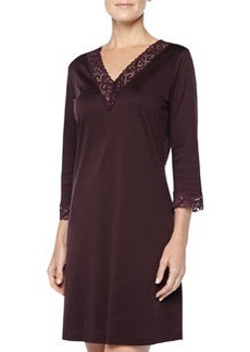 Moments Lace-Trimmed Big Sleepshirt, Burgundy   Moments Lace-Trimmed Big Sleepshirt, Burgundy