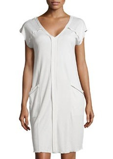 Pisa Short-Sleeve Gown, Crystal Gray   Pisa Short-Sleeve Gown, Crystal Gray