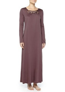 Queens Guipure Lace-Inset Gown, Peppercorn   Queens Guipure Lace-Inset Gown, Peppercorn