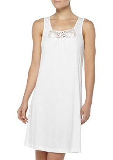 Queens Guipure Lace-Inset Tank Gown, Off White   Queens Guipure Lace-Inset Tank Gown, Off White