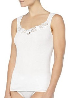 Queens Guipure Lace-Inset Tank Top, Off White   Queens Guipure Lace-Inset Tank Top, Off White