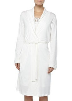 Queens Lace-Detailed Robe, Off White   Queens Lace-Detailed Robe, Off White