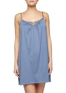 Roma Lace-Trimmed Chemise, Blue Shadow   Roma Lace-Trimmed Chemise, Blue Shadow