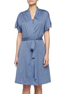 Roma Lace-Trimmed Robe, Blue Shadow   Roma Lace-Trimmed Robe, Blue Shadow