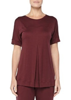 Tribeca Short-Sleeve Inverted-Pleat Top, Maroon   Tribeca Short-Sleeve Inverted-Pleat Top, Maroon