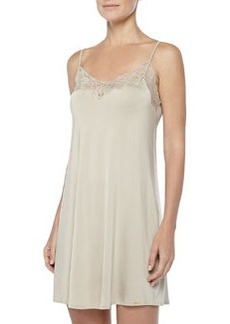 Universe Of Hanro Lace-Trimmed Chemise, Gold/Gray   Universe Of Hanro Lace-Trimmed Chemise, Gold/Gray