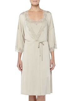 Universe Of Hanro Lace-Trimmed Wrap Robe, Gold Gray   Universe Of Hanro Lace-Trimmed Wrap Robe, Gold Gray