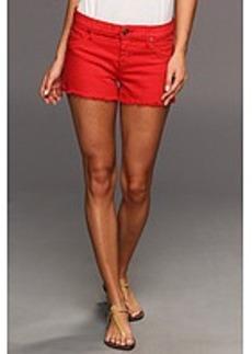 Hudson Amber Raw Edge Hem Short in Red Dahlia w/ Studs