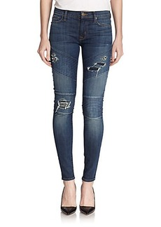 Hudson Brooklyn Distressed Skinny Moto Jeans